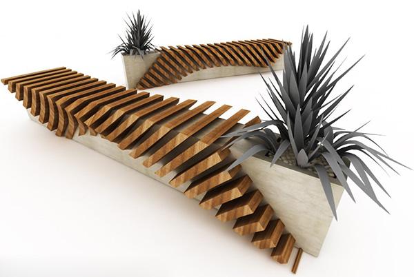 cisca urban seat 2 Urban Bench with a Planter by Juampi Sammartino