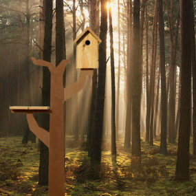 Corten Steel Birds Tree House by Maandag: Birdtreehut