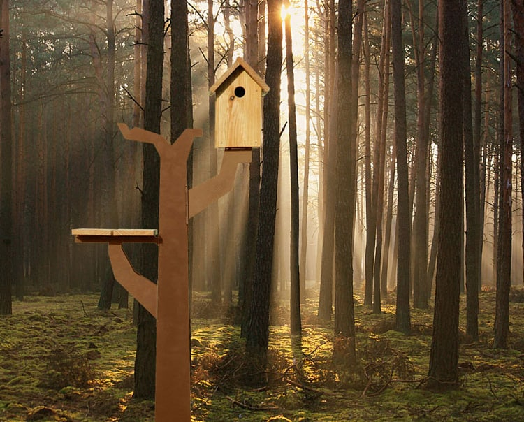 Corten Steel Birds Tree House by Maandag: Birdtreehut