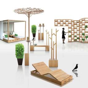 Wooden Outdoor Furniture Designs by Deesawat – Green Wall, Stick Up, Summer Cabana