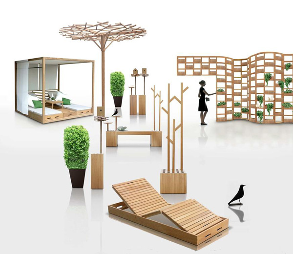 Wooden outdoor furniture designs by deesawat green wall for Outdoor furniture designers