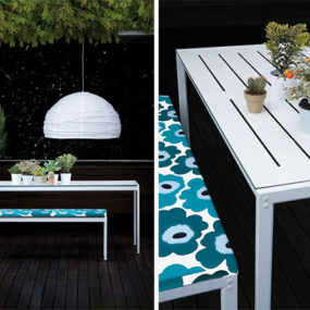 Garden Table and Bench from Zanotta – elegant steel frame