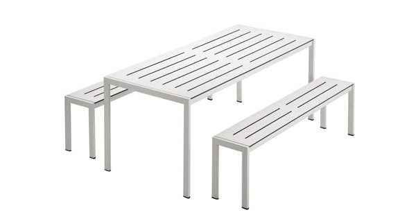 garden table benches zanotta Garden Table and Bench from Zanotta   elegant steel frame