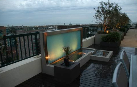 H2o Designs Rooftop Landscaping Waterfall
