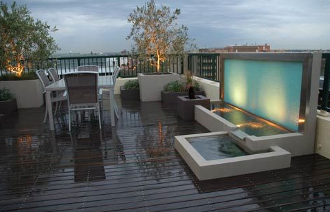 Contemporary rooftop landscaping design from h20 designs for Rooftop landscape design