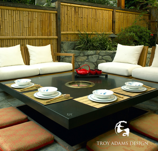 home tepanyaki grill table troy adams 1 Home Tepanyaki Grill Table   indoor outdoor grill cooktop by Troy Adams Design