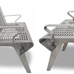 Perforated Steel Outdoor Bench by Landscape Forms