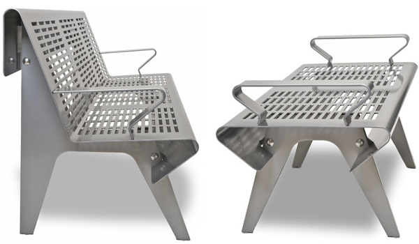 landscape forms redline bench 2 Perforated Steel Outdoor Bench by Landscape Forms
