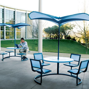 Shade 35 Modern Umbrella shapes the future of outdoor furniture – from Landscape Forms