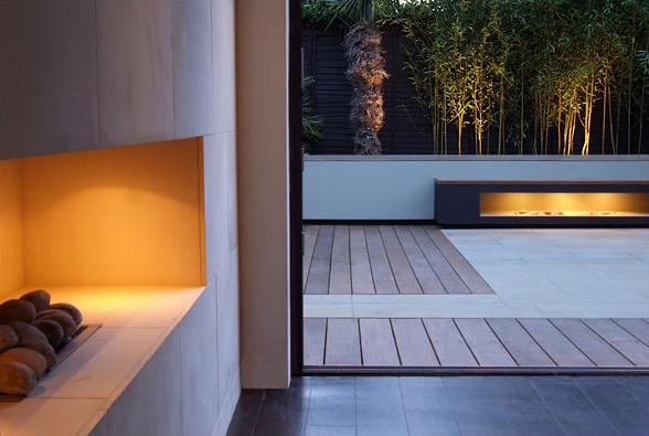 london contemporary garden amir schlezinger fireplaces
