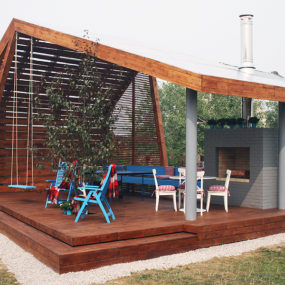 Modern Outdoor Pavilion with Fireplace and Ping-pong Table
