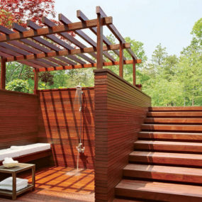 Pool Deck Design with Shower by S. Russell Groves