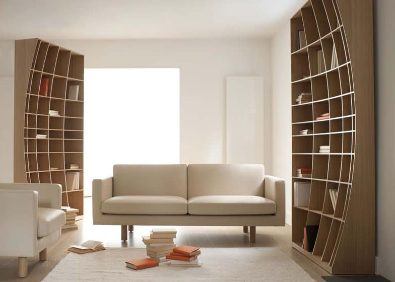 Sculpturally Creative Concave Bookcase By Joined + Jointed