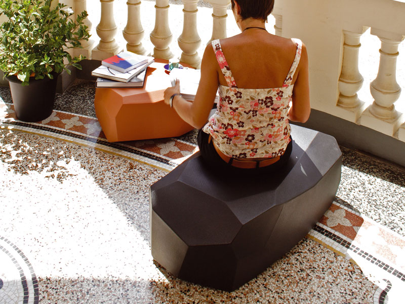 View In Gallery Translucent Polyethylene Poufs Meteor Serralunga 3