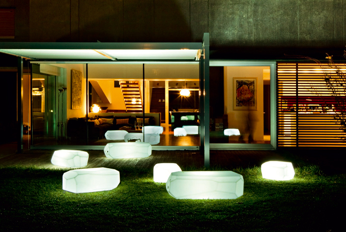Translucent polyethylene seats poufs and tables from serralunga