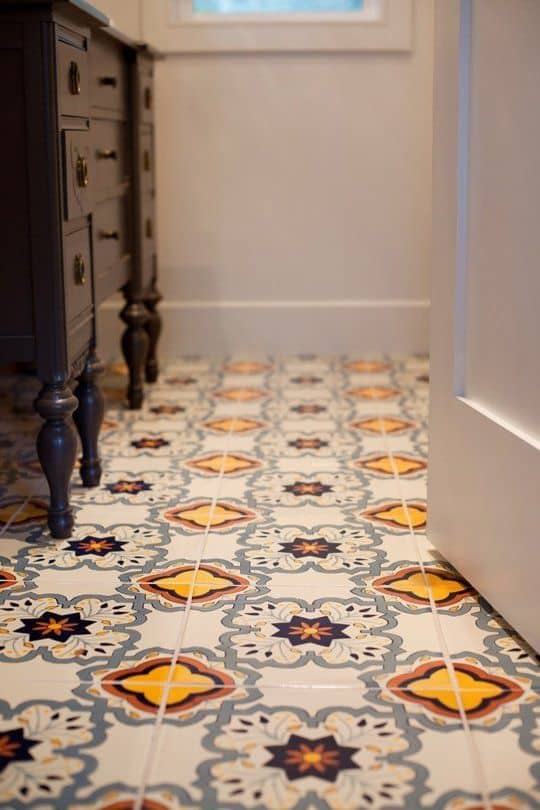 View In Gallery Bathroom Floor Tile Idea Colorful Pattern