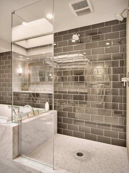 view in gallery reflective subway tile luxury bathroom lookjpg - Bathroom Designs With Mosaic Tiles