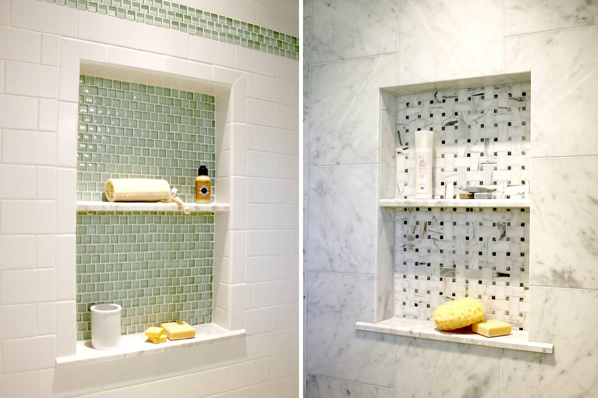 shower niche in green tile