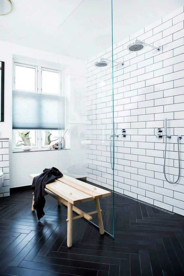 View In Gallery Subway Black And White Tile Bathroom Idea