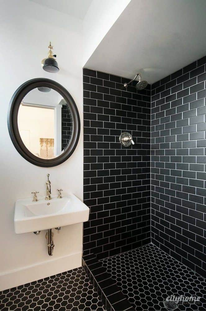 Great View In Gallery Subway Black Monochromatic Tile Bathroom Good Looking