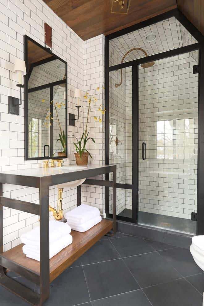 View In Gallery White Subway Tiles Bathroom Design