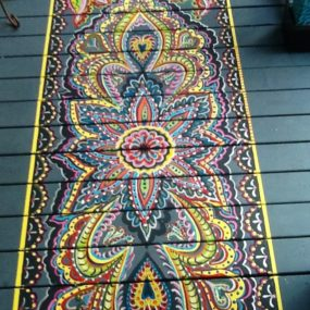 painted wood porch faux rug 285x285 Top 10 Stencil and Painted Rug Ideas for Wood Floors