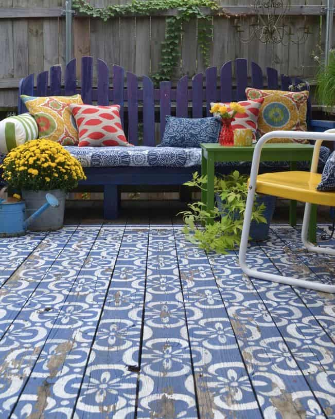 View In Gallery Wood Patio Painted In Blue And White Moroccan