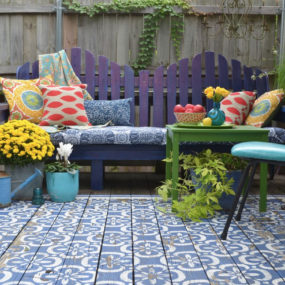 wood patio painted with stencils area rug look 2 285x285 Top 10 Stencil and Painted Rug Ideas for Wood Floors