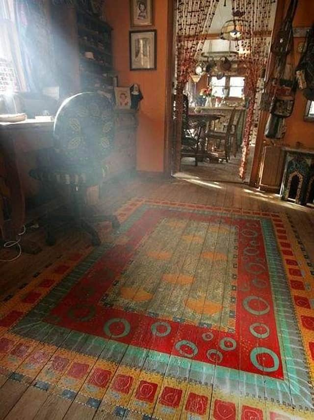 View In Gallery Bohemian Rug Painted On Bedroom Floor