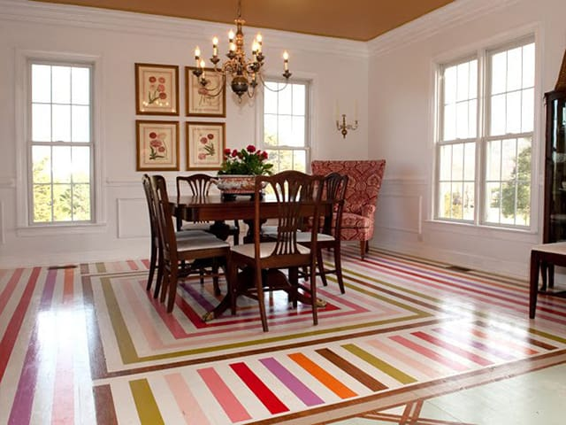 dining room stenceled in color stripes