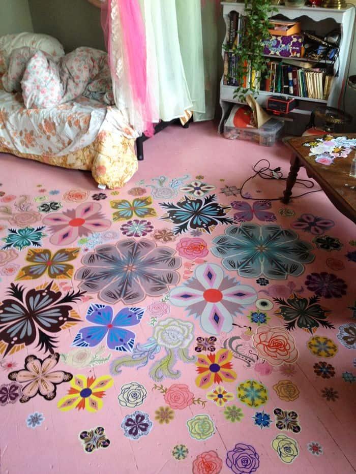 girl room painted pink floor