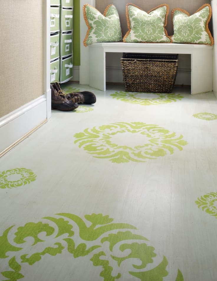 Top Stencil And Painted Rug Ideas For Wood Floors