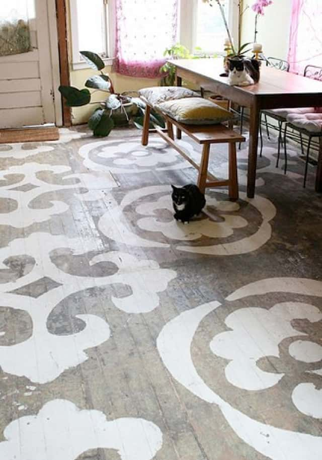 View In Gallery Old Wood Floor Stenciled Directly Onto Wood London.