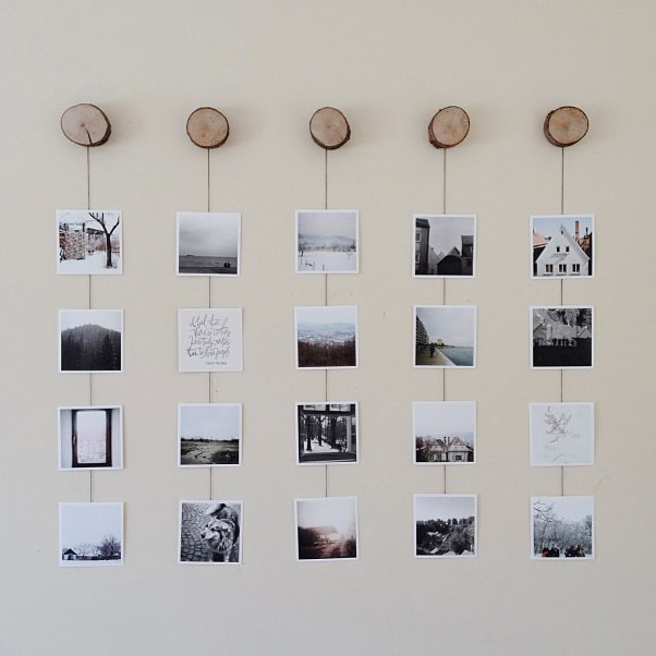 Photo wall collage without frames 17 layout ideas for Picture frame with clips diy
