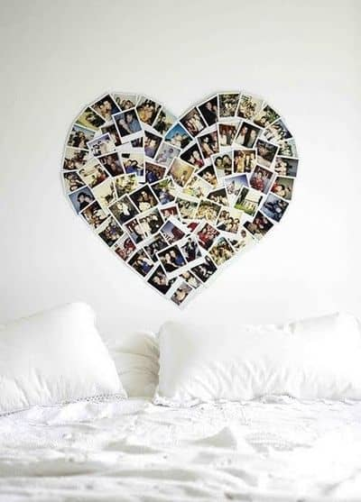 View In Gallery Heart Photo Collage Wall Without Frames 17 Layout Ideas