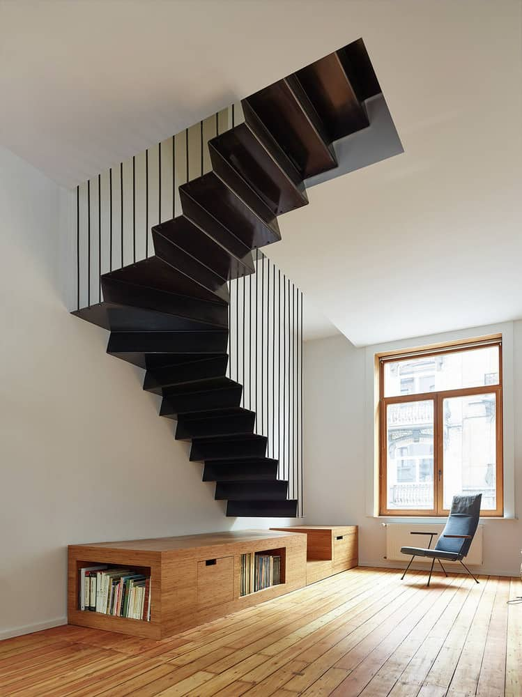 In Belgium, the staircase design above is a part of the house renovation by  architects Edouard Brunet and Francois Martens, photographed by Dennis De  Smet.