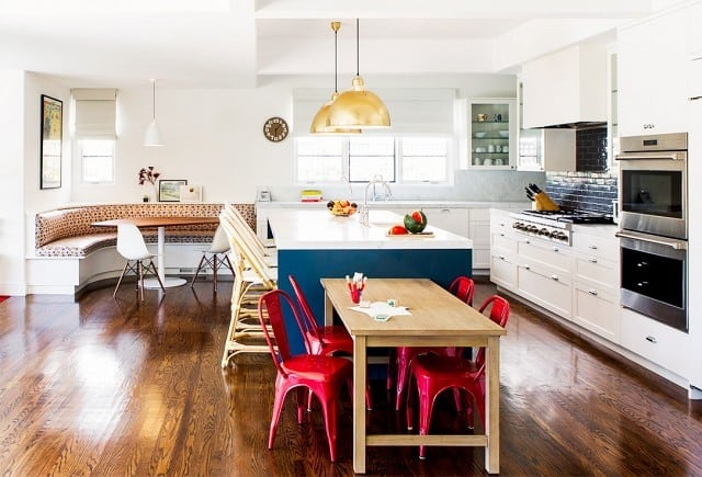 An Open Plan Kitchen Idea With A Banquette Nook By Amy Sklar Design