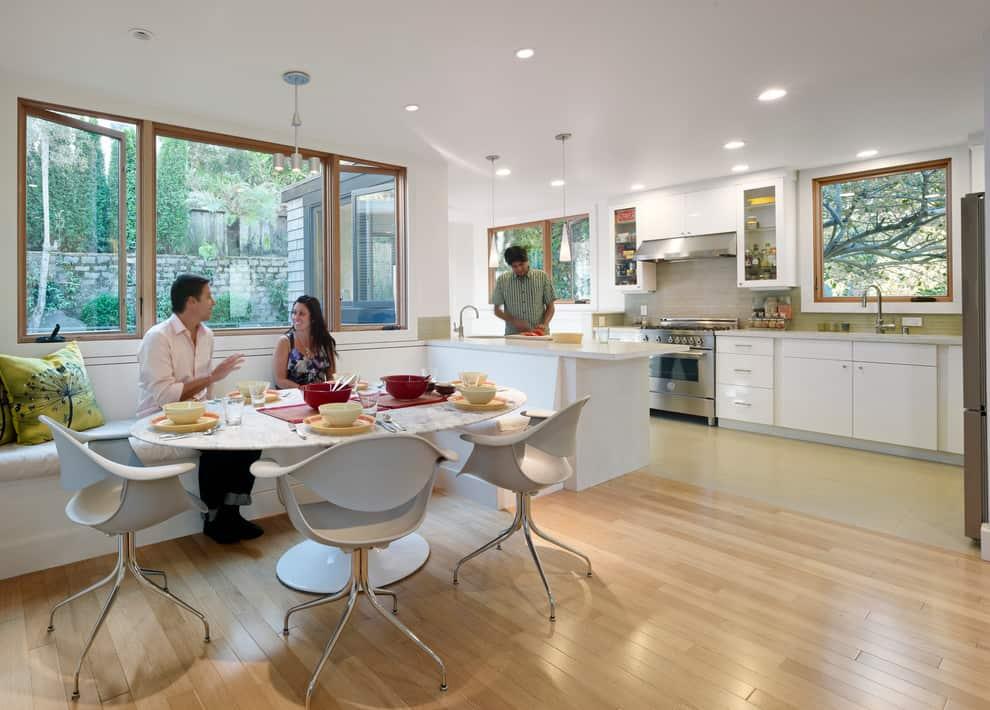modern single bench kitchen nook yamamar