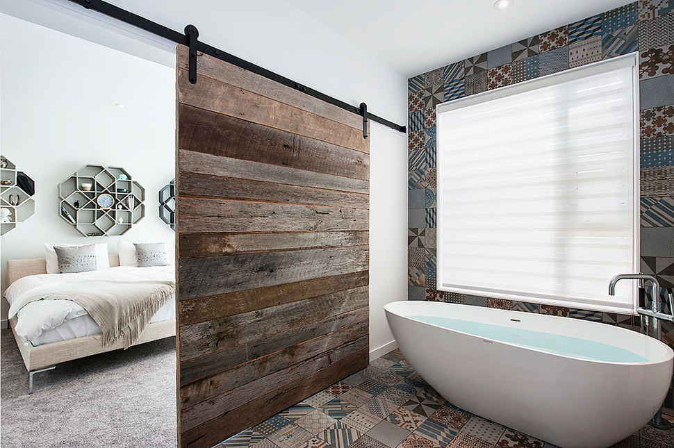 wood tile bathroom. View in gallery recycled wood matching tile 1 jpg Top 10 Tile Design Ideas for a Modern Bathroom 2015