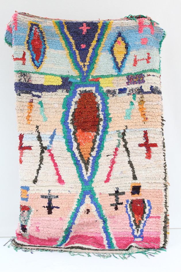 View In Gallery Colorful Authentic Vintage Morocco Berber Craft Boucherouite Rug