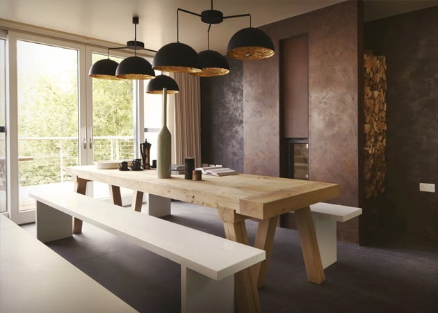 View In Gallery Country Tables With Contemporary Dining Chairs 4