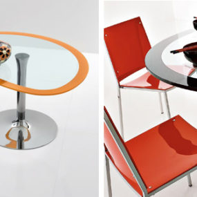 Oval Cocktail Tables – Polo glass pedestal table by Compar